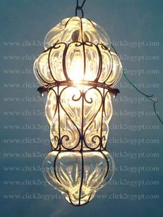 French Style Clear Glass Wrought Iron Art Deco Hanging Lamp