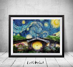 Hobbit Starry Night Print Hobbit Wall Art Decor Lord by LetiPrint
