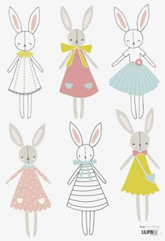 Stickers lapins fille Sweet Bunnies by Flora Waycott x 42 cm), Lilipinso. Stickers animaux de la collection Sweet Bunnies by Flora Waycott - Le Kids Patterns, Print Patterns, Lapin Art, Baby Art, Kids Prints, Pattern Illustration, Nursery Art, Cute Art, Wall Decals