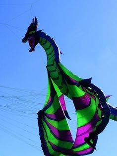 A fierce-some Dragon kite inflatable, in mid-flap. It almost looks alive... T.P. (my-best-kite.com)