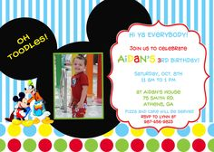 Mickey Mouse Clubhouse Birthday Party Invitation by cohenlane, $10.00