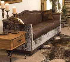 Beautiful cowhide and leather Wyoming Western Sofa from Western Passion. | Stylish Western Home Decorating