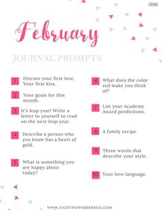 February Journal Prompts + overview of 'bullet journaling'. New prompts [pdf printable included] each month >> Eight Pepperberries (scheduled via http://www.tailwindapp.com?utm_source=pinterest&utm_medium=twpin&utm_content=post28713348&utm_campaign=scheduler_attribution)