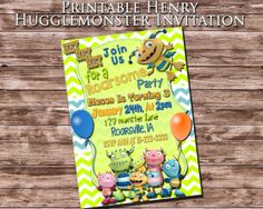 """Printable """"HENRY HUGGLEMONSTER INVITATION"""" - Henry Hugglemonster Themed Birthday Party Invitation - Monster Themed Invite - Henry Huggle"""