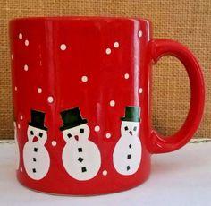Vintage ~ Red Christmas Snowmen Waechtersbach Coffee Mug Made in W. Germany VGC #Waechtersbach