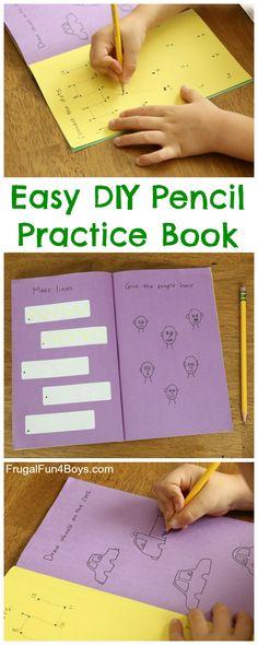 Easy DIY Pencil Practice Book for Improving Fine Motor Skills, Pencil Grip, Etc.
