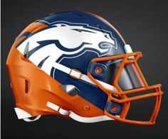 Check Out The Awesome Redesigned NFL Helmets of All 32 Teams - Jetlaggin Broncos Helmet, Denver Broncos Logo, Denver Broncos Football, Broncos Fans, Cincinnati Bengals, Indianapolis Colts, Pittsburgh Steelers, Football Helmet Design, College Football Helmets