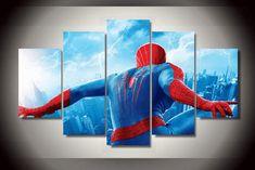5 Piece Multi Panel Modern Home Decor Framed Spider-Man Marvel Comic Super Hero Wall Canvas Art Canvas Artwork, Canvas Frame, Canvas Wall Art, Canvas Size, Spiderman Home, Spiderman Marvel, Marvel Comics, Avengers, Marvel Canvas