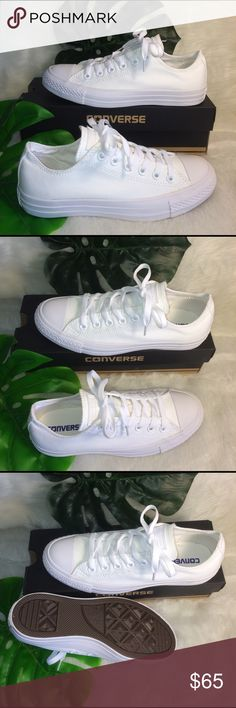 CONVERSE WOMENS SIZE 7.5 WHITE SHOES CANVAS Shoes are brand new without box. Womens size 7.5. All white low top Chuck Taylors. Converse Shoes Sneakers