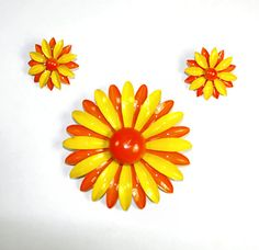 Flower Power Daisy Demiparure Brooch and Clip by KickassStyle, $28.00