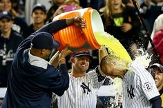 Bleeding Yankee Blue  Brett Gardner, CC Sabathia giving Jeter the ceremonial dunking