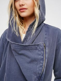 Cowl Scowl Hoodie | Slouchy hoodie in a washed cotton fabric with unfinished raw trim.    * Zip front closure.   * Waterfall front and cowl neck.   * Hip pockets.   * Adjustable tab in back.