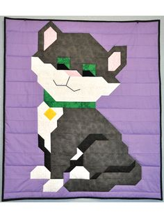 """Cat Quilt Pattern ~ easy level ~ comes in 3 sizes - wall hanging 24"""" x 36"""" - crib 36"""" x 42"""" - lap & throw 48"""" x 56"""" ~ simple design ~ for a child or cat lover in your life ~ PURCHASED pattern - QUILTING"""