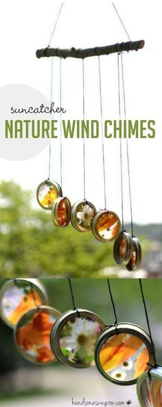 Super simple suncatcher wind chimes to make with your kids using flowers and leaves! via Jamie Reimer The post Super simple suncatcher wind chimes to make with your kids using flowers and lea appeared first on Easy Crafts. Projects For Kids, Diy For Kids, Crafts For Kids, Craft Projects, Kids Nature Crafts, Diy Nature Projects, Kids Outdoor Crafts, Nature Activities, Summer Activities