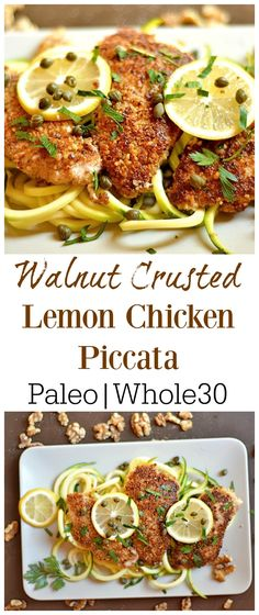 20 minute, One pan dish that is packed with flavor!! GF version of traditional Chicken Piccata. Whole30 & Paleo approved. @cawalnuts #walnuts #CG #ad