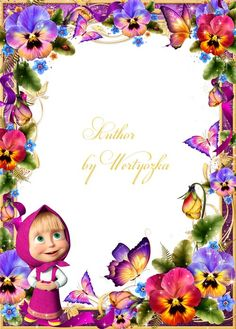 Baby psd frame for photoshop, Masha and the Bear, pansies and butterflies -