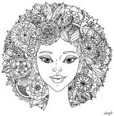 Dessin gratuit à imprimer, un visage avec chevelure fleurie                                                                                                                                                                                 Plus
