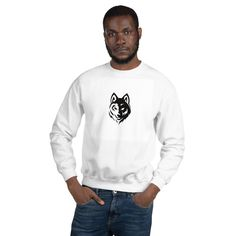 Wolf Unisex Sweatshirt by CreativeWearOnline on Etsy I Shop, Wolf, Unisex, Trending Outfits, Sweatshirts, Long Sleeve, Sleeves, Sweaters, Mens Tops