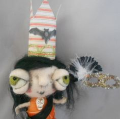Halloween Queen Ooak  needle felted art doll by papermoongallery, $59.00