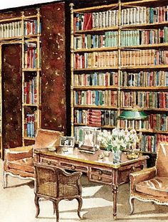 A watercolor by the late Mark Hampton, depicts Cole Porter's Waldorf Towers library with its famous often copied brass bookcases and chocolate walls.