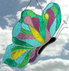 Vidrio Sol Catcher mariposa diseño vidrio por StainedGlassDelight