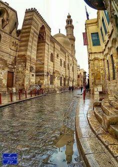 Al-Moez street in the rain, Cairo,