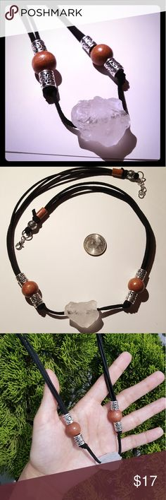 """Quartz necklace Quartz crystal chunk with wood and silver plated beads on suede lace. Lobster clasp, 11.5"""" length. Jewelry Necklaces"""
