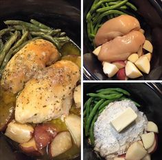 Crockpot Chicken and Vegetables (Mississippi Mud Style) Ingredients: Two boneless skinless chicken breasts 3 cups whole green beans (fresh) 5 medium red potatoes (cut up in chunks) 1 package dry ranch dressing mix 1 package dry chicken gravy mix 1/2 stick butter 1/3 cup water Directions: Wash and place green beans on one side of the Crockpot. Place cut potatoes on the other side and the chicken in the center. Mix together the Dry Mix