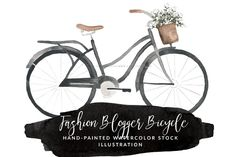 Watercolor Bicycle and Flowers  by @Graphicsauthor
