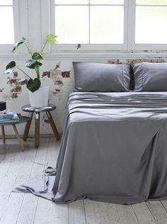 Bamboo Charcoal Flat Sheet - Dove Grey