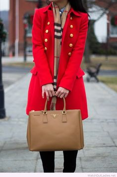 Long red coat with a brown bag