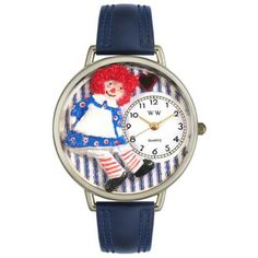 Whimsical Unisex Raggedy Ann Navy Blue Leather Watch
