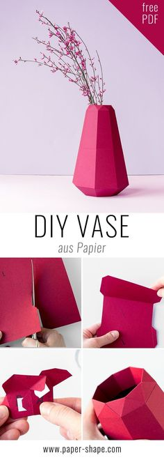 de origami DIY Vase aus Papier im Origami-Look [Vorlage] DIY paper vase in cool origami design with free template. You would just have to cut, fold, glue the papers. Find the colors mega - lavender, rose, burgundy. Vase Origami, Origami Diy, Origami Rose, Origami Ball, Origami Paper, Origami Ideas, Paper Flower Vase, Paper Vase, Origami Design
