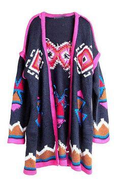 #SheInside Navy Long Sleeve Contrast Trims Geometric Cardigan Sweater