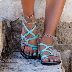 Retro Bohemia Gladiator Sandals Women Flat Sandals Slip-on Flip Flops Beach Shoes Female Slides Rome Shoes Sandalia Feminina Women's Shoes, Only Shoes, Cute Shoes, Rope Sandals, Strappy Sandals, Gladiator Sandals, Summer Sandals, Flat Sandals, Sandal Heels