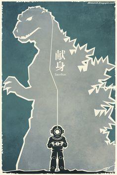 Godzilla 1954 Retro Movie Poster: Series 2 by MyPetDinosaur.deviantart.com on @deviantART