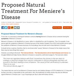Proposed Natural Treatment For Meniere's Disease