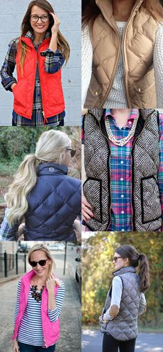 I love the look of all these vests and shirts together, especially the beige with a white sweater!!
