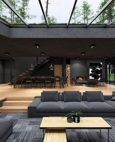 Dream House Interior, Luxury Homes Dream Houses, Dream Home Design, Home Interior Design, My Dream Home, Modern Architecture House, Interior Architecture, Amazing Architecture, Black Architecture
