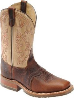 """Double H Boot - Mens - 11"""" Bison Roper Double H Boot. $169.99. Leather Lining. Brandy Bull / Blue Marlin. Perfed Saddle Vamp. Manmade material. 1 1/4 Inch Heel. Oak ICE Outsole"""