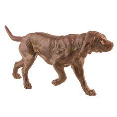 PERRO DE CAZA Escultura en bronce. S. XX. Medidas: 15,5 x 33,5 x 9,5 cm.