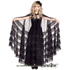 Karlene mantel cape met kanten franjes zwart - Gothic Lolita Halloween