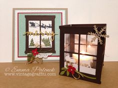 Hearth and Home Framelits   Luminary   Tea Light Candle Holder   Sleigh Ride Edgelits   Home For Christmas DSP   Doily  Cozy Christmas   Bird Builder Punch    Vintage Graffiti   Emma Palonek – Independent Stampin' Up! Demonstrator   www.facebook.com/vintagegraffiti   www.vintagegraffiti.com  