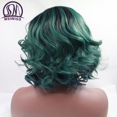 MSIWIGS Short Ombre Green Lace Front Wig Synthetic Hair Brazilian Body Wave Afro Wigs for Women Heat Resistant-in Synthetic Wigs from Hair Extensions & Wigs on Aliexpress.com | Alibaba Group