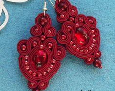 Les boucles d'oreilles de Soutache Rose Rivoli par RhodianaSoutache