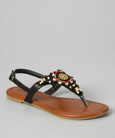 Black & Red Beaded T-Strap Sandal by TOP