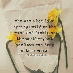 modern poetry. She was a bit like spring; wild as the wind and fickle as the weather, but her love ran deep as tree roots.