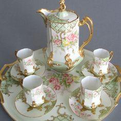 "Antique LIMOGES HP Porcelain Chocolate Set ROSES Tea Pot 15"" Tray Cups + Saucers"