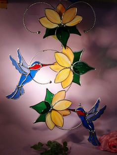Stained Glass Suncatcher Hummingbirds with por StainedGlassbyWalter