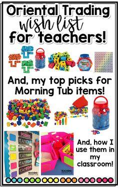 Using Oriental Trading Wish List Items for Morning Tubs! First Grade Classroom, New Classroom, Classroom Setup, Classroom Setting, Kindergarten Classroom, Kindergarten Activities, Classroom Activities, Classroom Organization, Preschool Learning